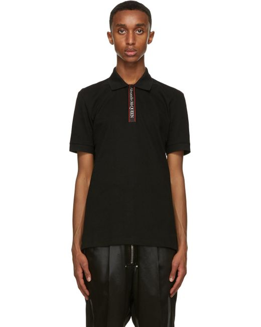 メンズ Alexander McQueen ブラック ロゴ ポロシャツ Black
