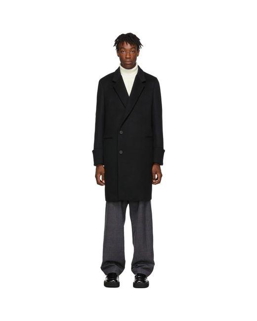 メンズ Wooyoungmi ブラック ウール コート Black