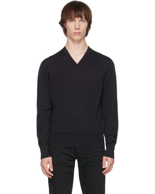 メンズ Tom Ford ネイビー V ネック セーター Blue