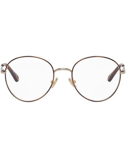 Chloé ゴールド & トータスシェル ラウンド メガネ Multicolor