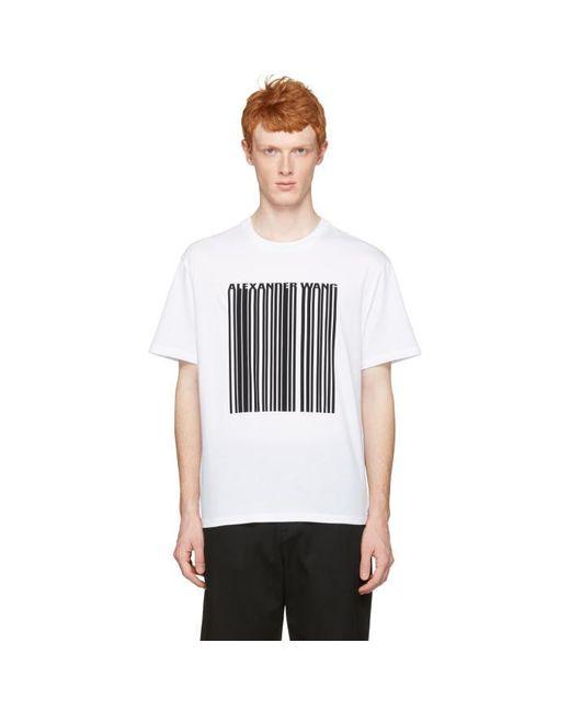 Alexander Wang | White Barcode Logo T-shirt for Men | Lyst