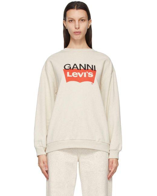 Ganni Levi's エディション オフホワイト ロゴ スウェットシャツ White