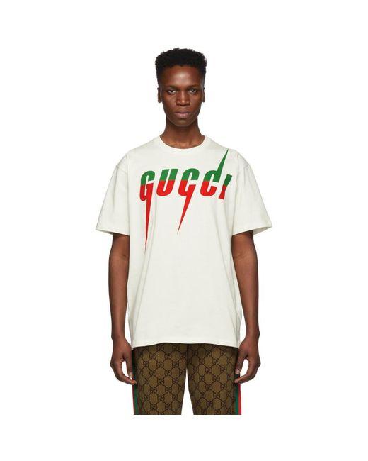 メンズ Gucci オフホワイト ロゴ T シャツ White
