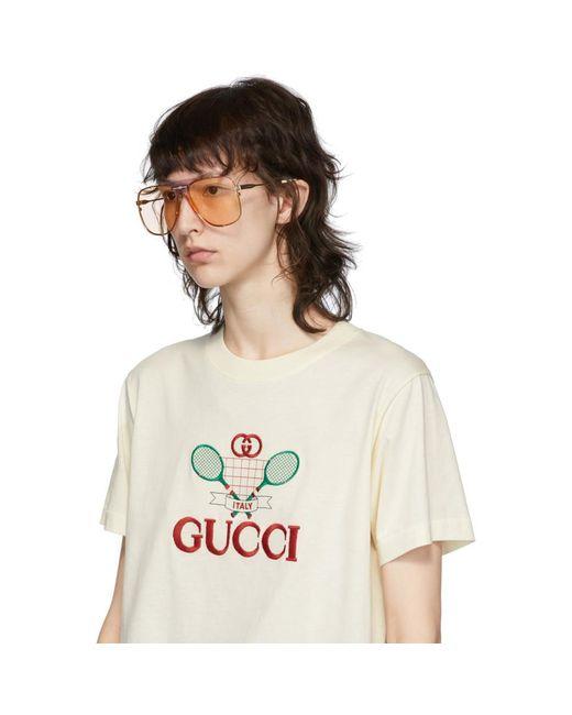 Gucci ゴールド And パープル Bold Bridge アビエイター サングラス Metallic
