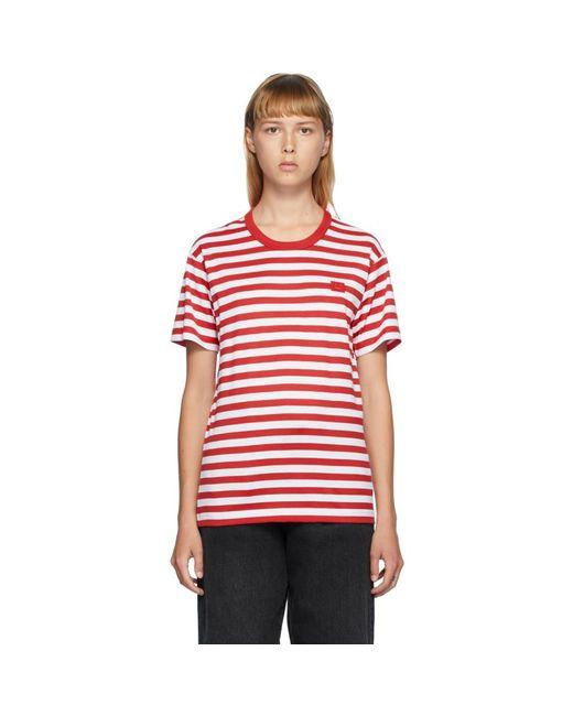 Acne レッド And ホワイト クラシック フィット ストライプ T シャツ Red