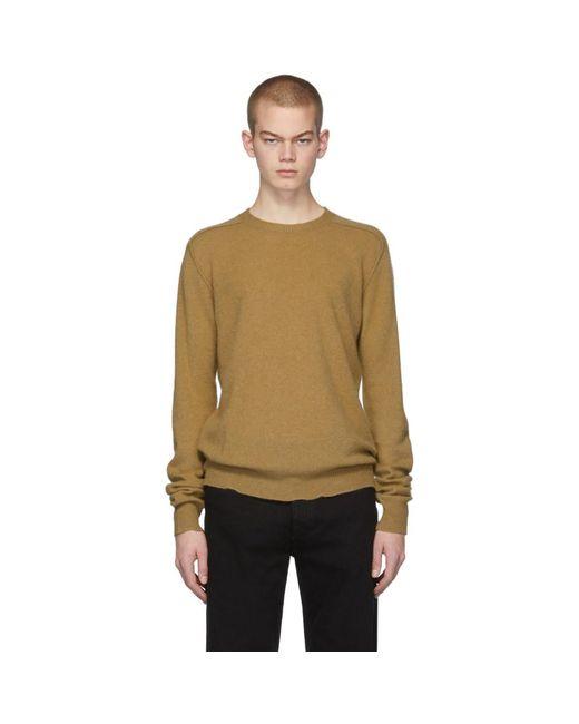 メンズ Bottega Veneta タン カシミア ロゴ セーター Multicolor