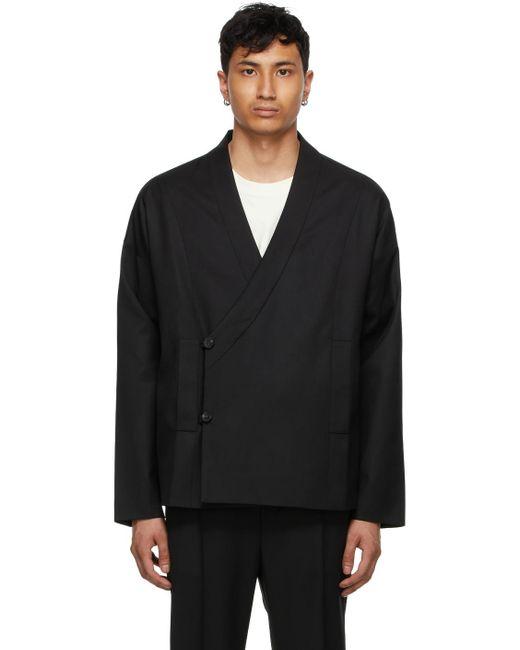 メンズ Tom Wood ブラック ラップ ジャケット Black