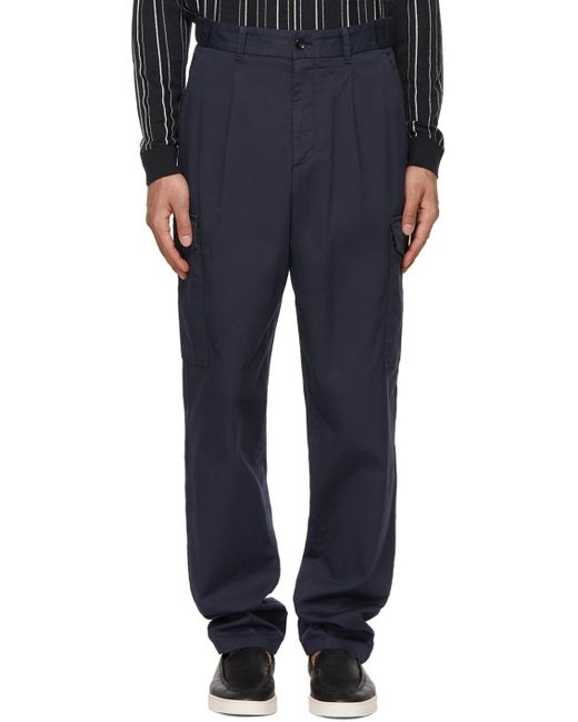 メンズ Giorgio Armani ネイビー カーゴ パンツ Blue