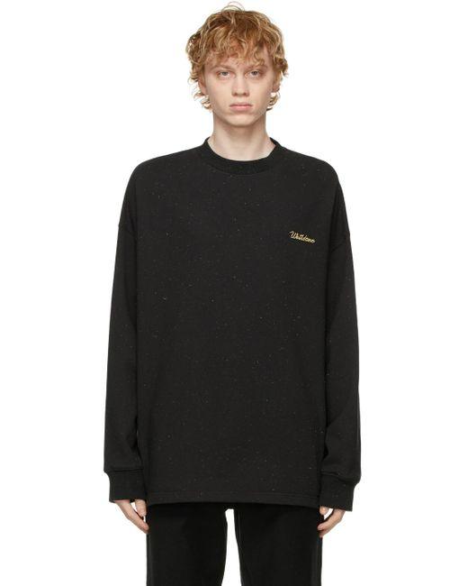 メンズ we11done ブラック ロゴ ロング スリーブ T シャツ Black