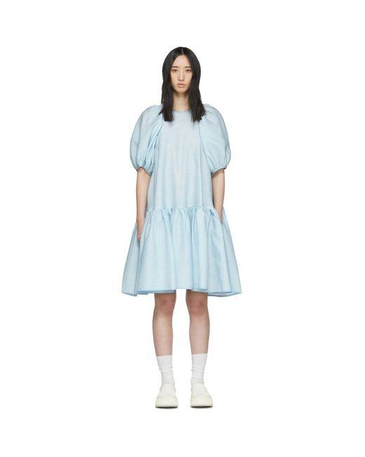 CECILIE BAHNSEN ブルー シルク Alexa ドレス Blue