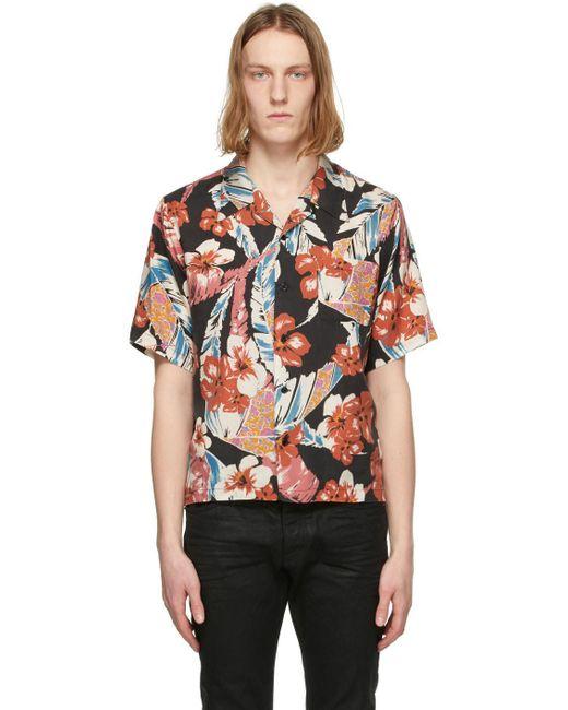 メンズ Saint Laurent マルチカラー Tropical ショート スリーブ シャツ Multicolor