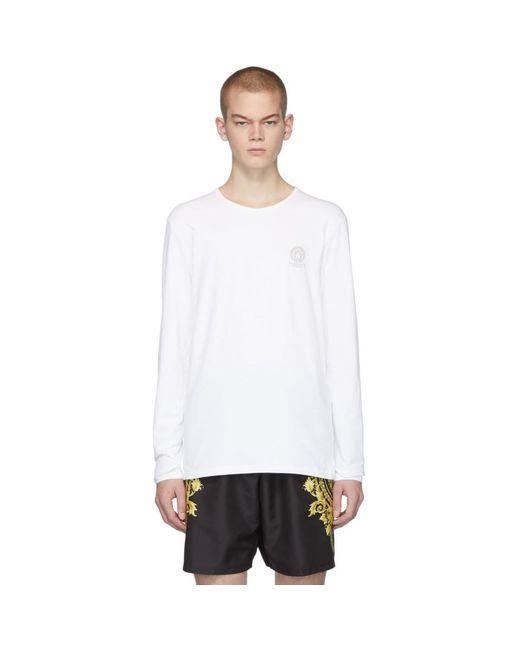 メンズ Versace ホワイト ロゴ ロング スリーブ T シャツ White