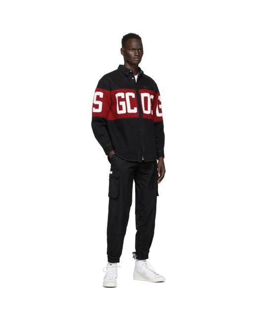 メンズ Gcds ブラック デニム ニット ロゴ シャツ Black