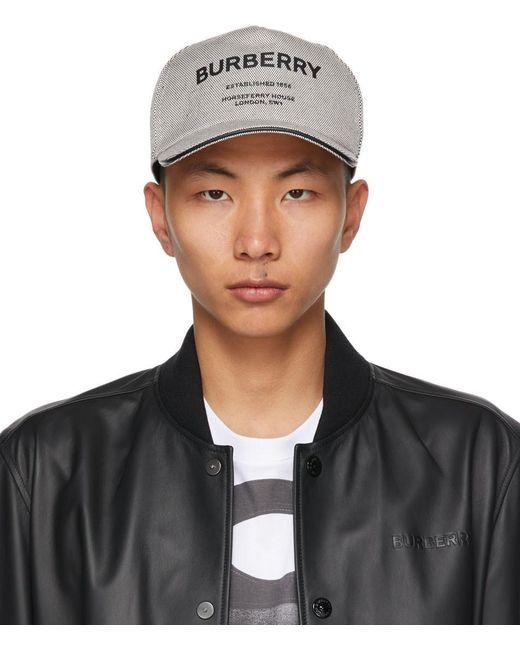 メンズ Burberry ブラック & ホワイト Horseferry ベースボール キャップ Black