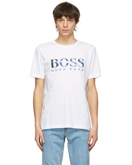 メンズ BOSS by Hugo Boss ホワイト Photographic ロゴ T シャツ White