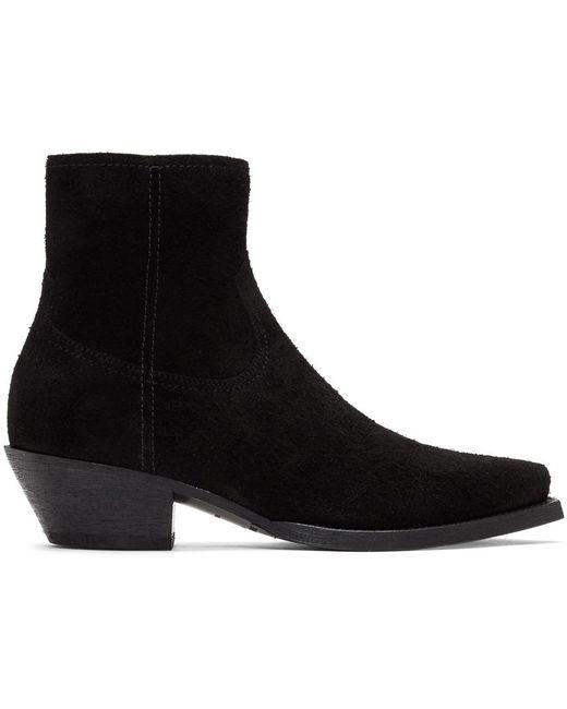 メンズ Saint Laurent ブラック スエード ルーカス ジップ ブーツ Black