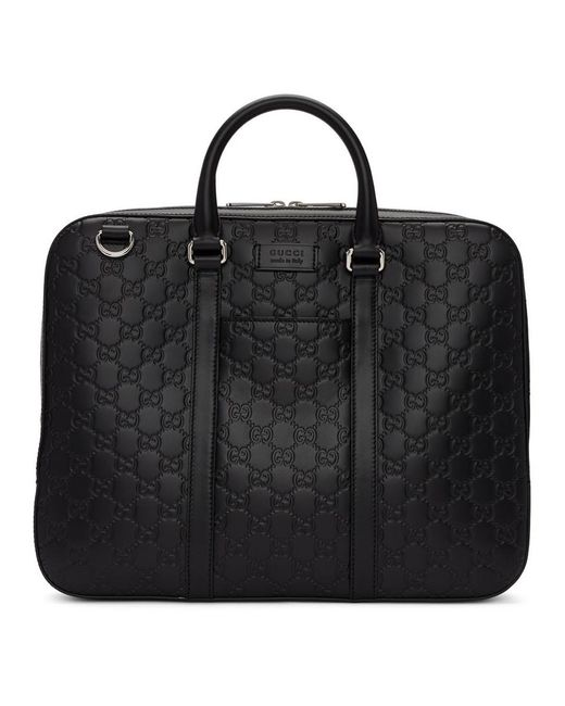 Porte-documents noir Embossed Signature Gucci pour homme en coloris Black