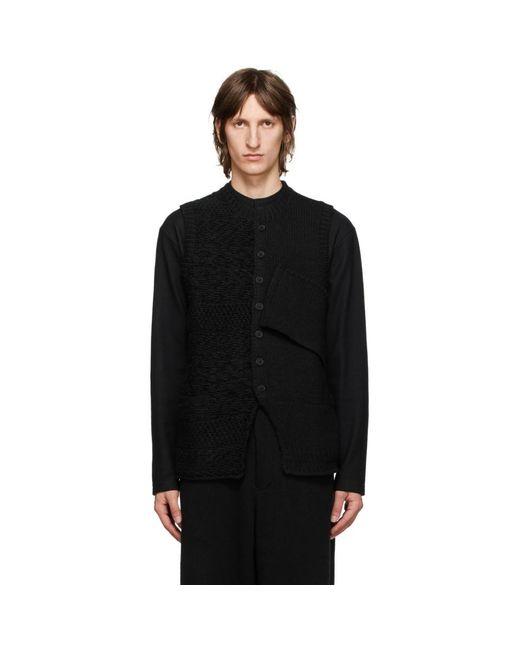 Yohji Yamamoto Black Wool Knit Vest for men