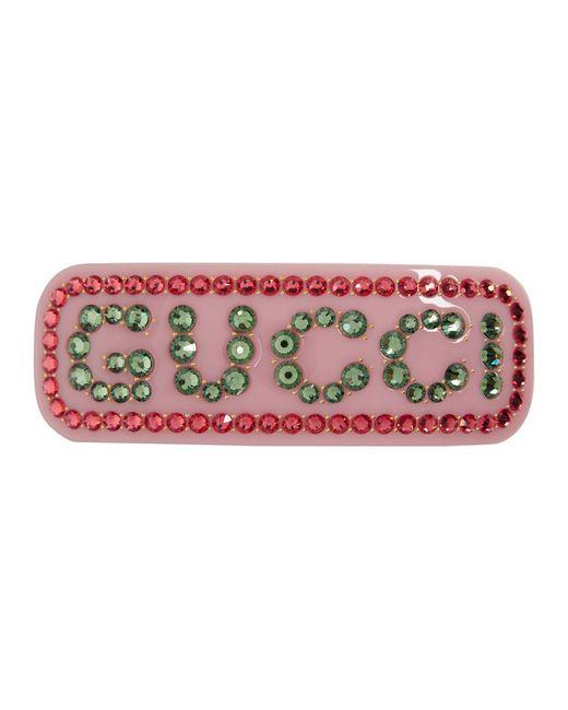 Gucci グッチクリスタル シングル ヘアバレッタ Pink