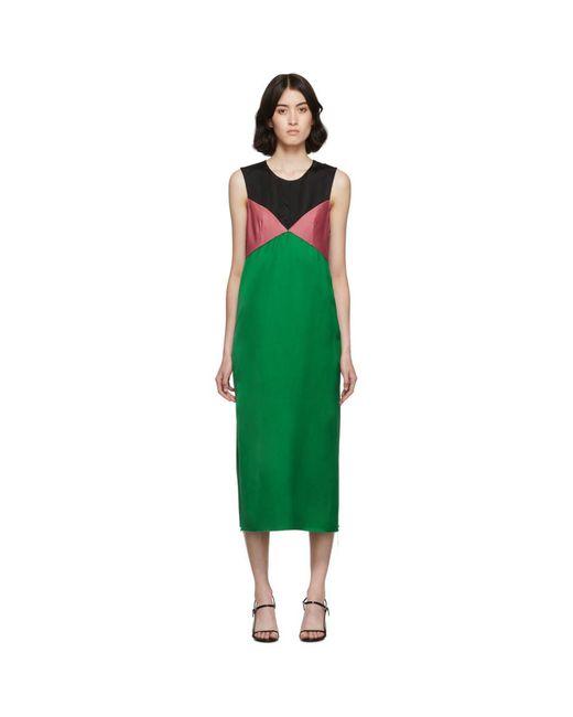 Marina Moscone グリーン And ブラック ヘビー サテン ドレス Green