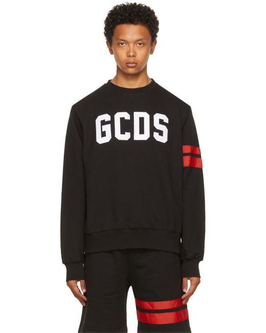 メンズ Gcds ブラック ロゴ スウェットシャツ Black