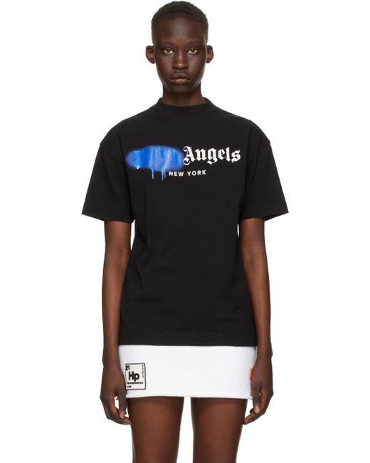 Palm Angels ブラック & ブルー Sprayed New York ロゴ T シャツ Black
