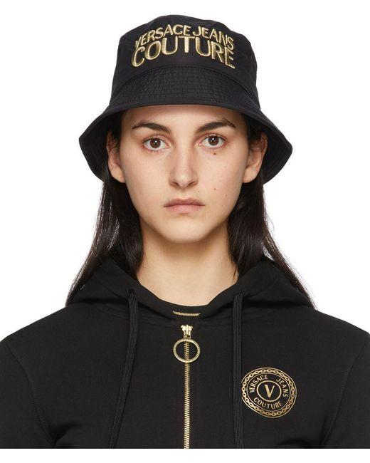 Versace Jeans Black Logo Bucket Hat
