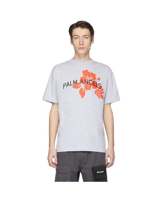 メンズ Palm Angels グレー ハイビスカス T シャツ Gray