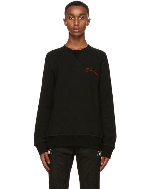 メンズ Alexander McQueen ブラック エンブロイダリー ロゴ スウェットシャツ Black