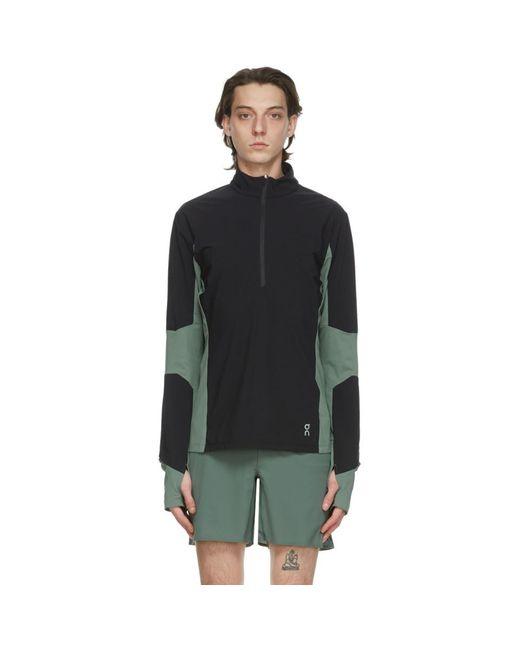 メンズ On ブラック And グリーン トレイル ブレーカー ハーフジップ セーター Green