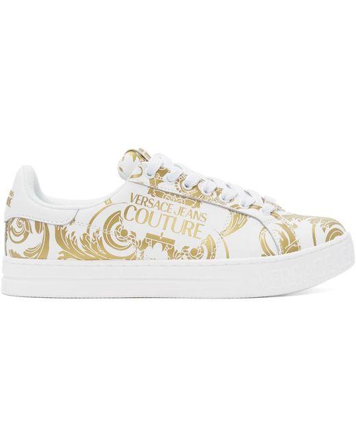 メンズ Versace Jeans ホワイト & ゴールド Baroque ロゴ スニーカー White