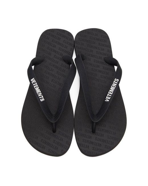 メンズ Vetements ブラック ロゴ ビーチ サンダル Black