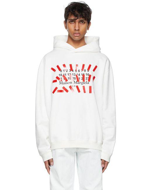 メンズ Maison Margiela ホワイト オーバーサイズ Tape Print フーディ White
