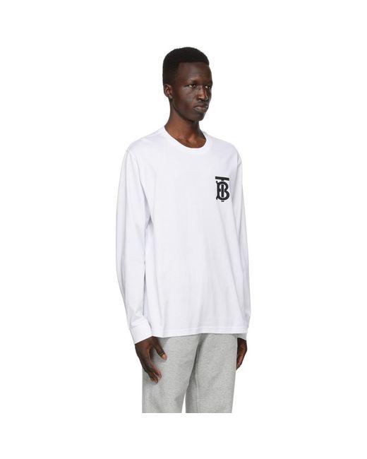 メンズ Burberry ホワイト Tb モノグラム Atherton ロング スリーブ T シャツ White