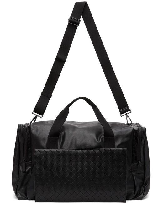 メンズ Bottega Veneta ブラック イントレチャート パッカブル ダッフル バッグ Black