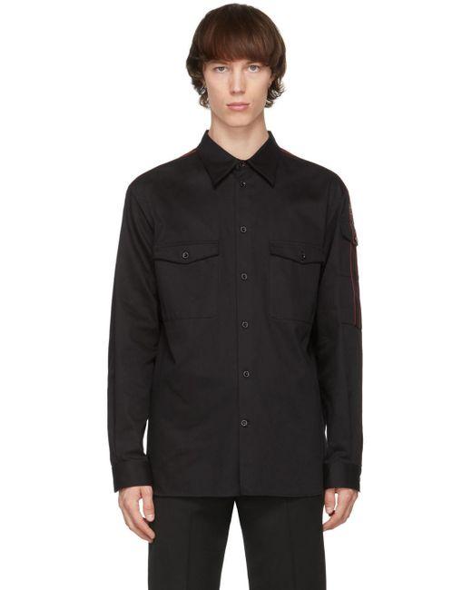 メンズ Alexander McQueen ブラック ロゴ シャツ Black
