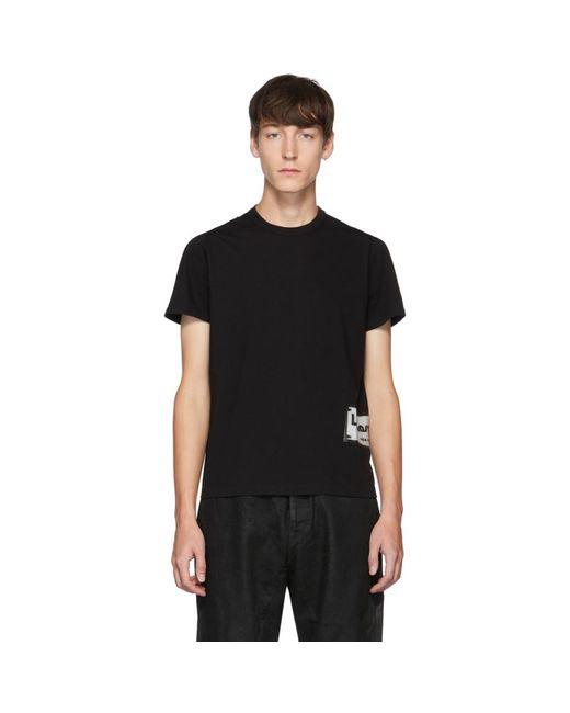 メンズ Rick Owens ブラック ロゴ T シャツ Black
