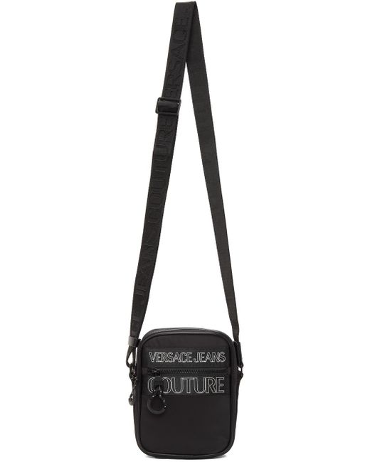 メンズ Versace Jeans ブラック Outline ロゴ クロスボディ バッグ Black