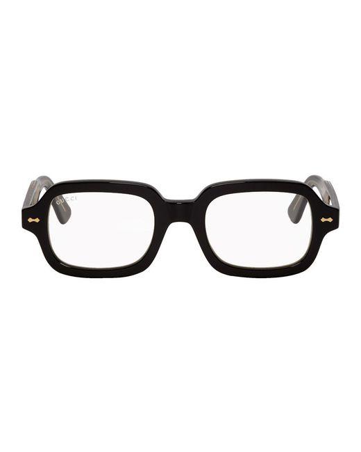 38170c3aa70 Gucci Black Rectangular Glasses in Black for Men - Lyst