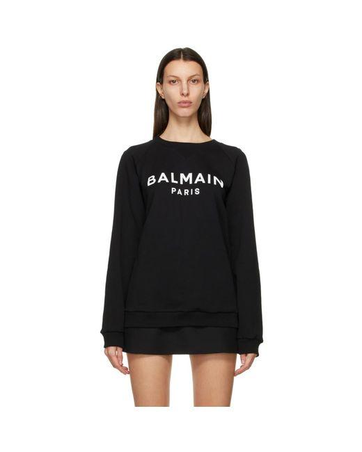 Balmain ブラック And ホワイト ロゴ スウェットシャツ Black