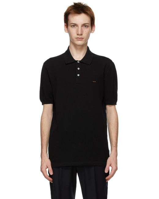 メンズ Ermenegildo Zegna ブラック Essential ショート スリーブ ポロシャツ Black