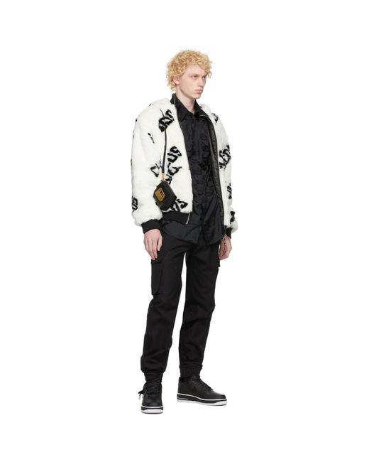 メンズ Gcds ホワイト フェイクファー ロゴ ジャケット White