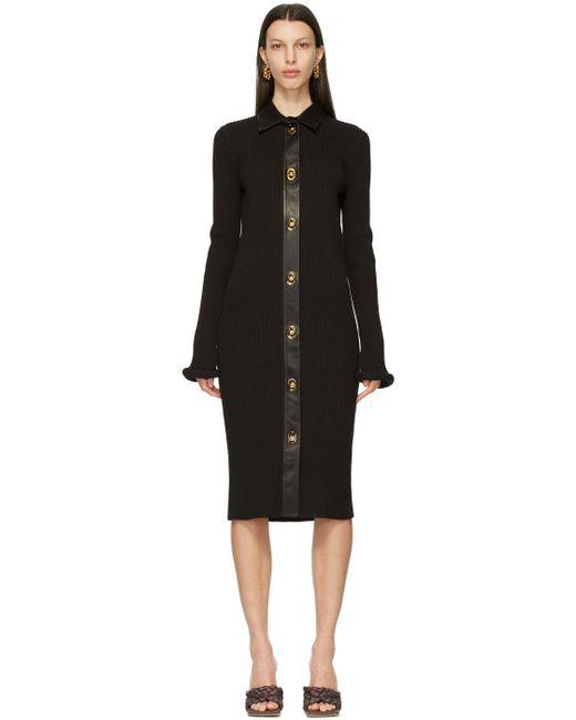 Bottega Veneta ブラウン ウール & レザー チャンキー ドレス Black