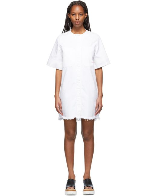 Victoria, Victoria Beckham ホワイト Frayed Hem ミニ ドレス White
