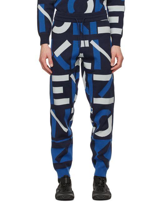 メンズ KENZO ネイビー Sport モノグラム ラウンジ パンツ Blue