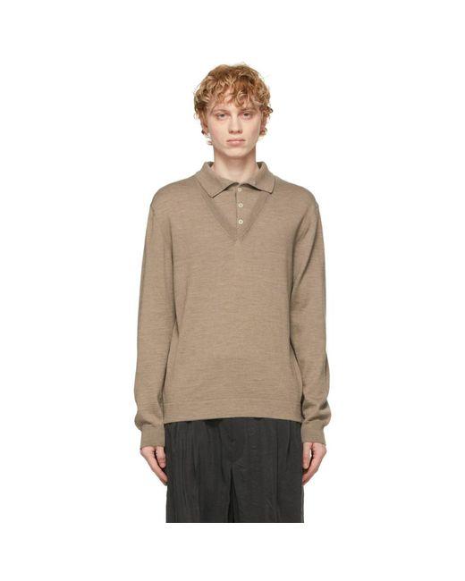 メンズ Lemaire ベージュ ロング スリーブ ポロシャツ Natural