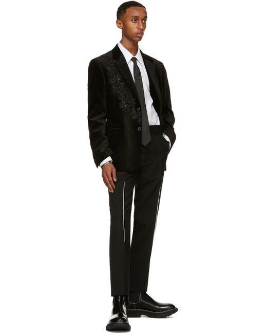 メンズ Alexander McQueen ブラック Embroidered Thistle ネクタイ Black