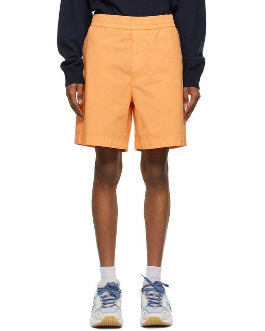 メンズ Acne オレンジ ロゴ ショーツ Orange