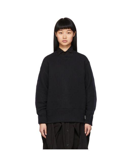 Sacai ブラック And ネイビー シャツ スウェットシャツ Black