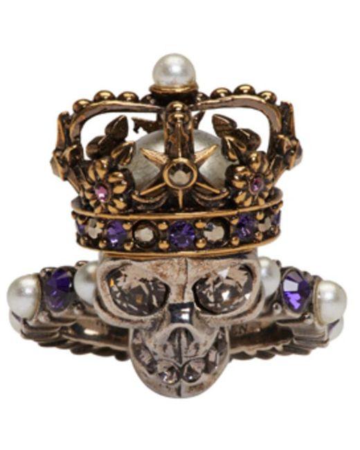 Alexander McQueen | Metallic Silver King Skull Ring | Lyst